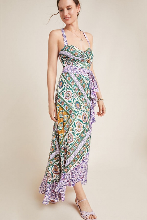 Maeve Amaline Ruffled-Printed Maxi Dress