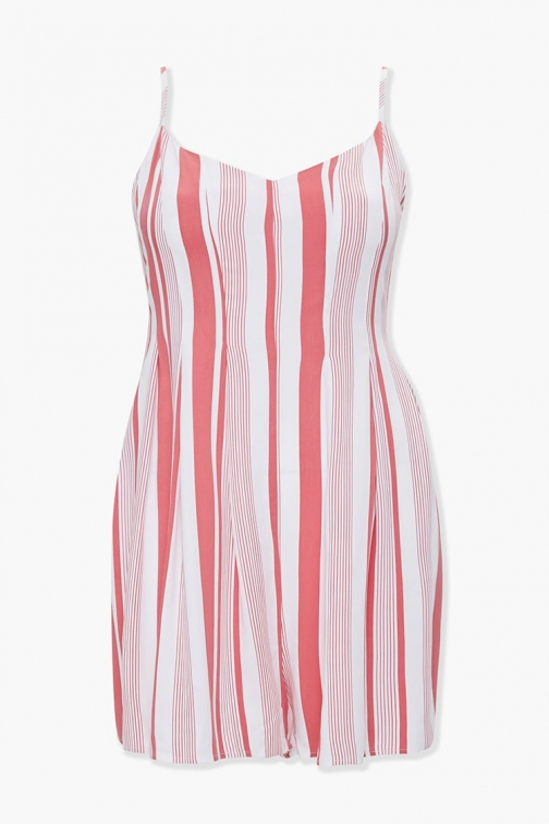 Forever21 Plus Forever 21 Plus Size Striped Romper , Rose/ivory Jumpsuit
