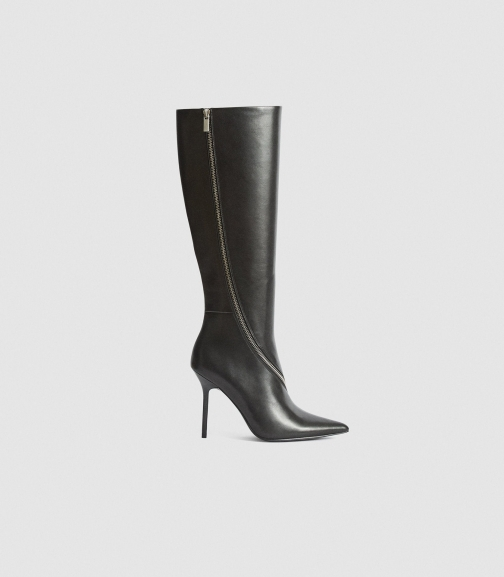 Reiss Hoxton Knee High - Leather Black, Womens, Size 4 Knee High Boots