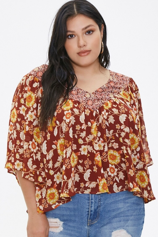 Forever21 Plus Size Ornate Floral At Forever 21 , Brick/multi Top