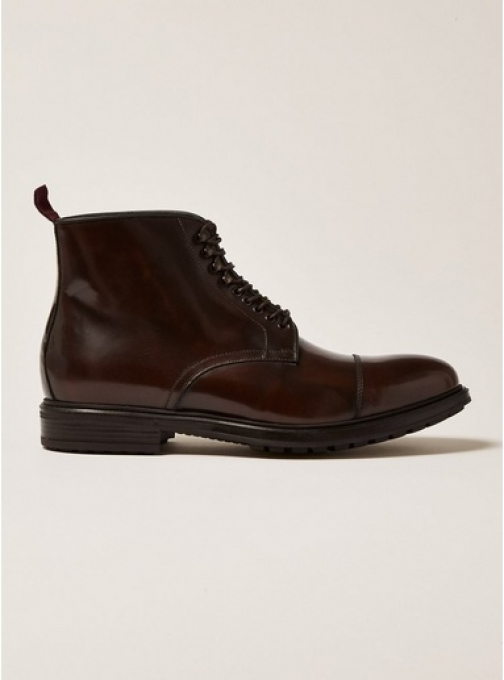 Topman Mens Brown Premium Leather Orpin Lace Up , Brown Boot