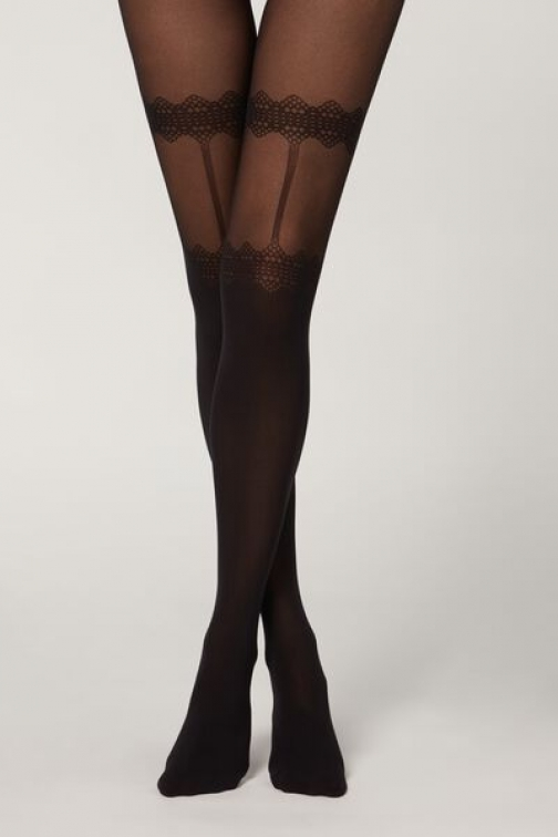 Calzedonia Stay-up Stocking Effect Woman Black Size 1/2 Tight