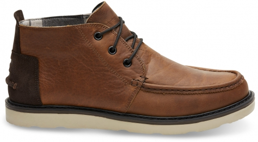Toms Waterproof Brown Pull Up Leather Men's Chukka Boot