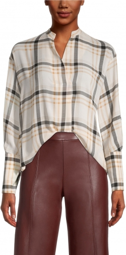 Ann Taylor Factory Petite Plaid Mixed Media Popover Top Shirt