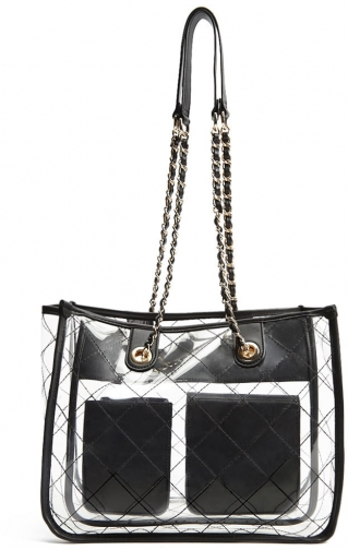 Forever21 Forever 21 Clear Vinyl , Black Shoulder Bag