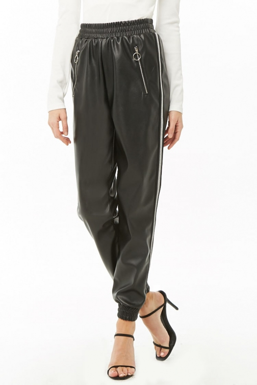 Forever21 Forever 21 Striped Faux Leather Black/silver Jogger