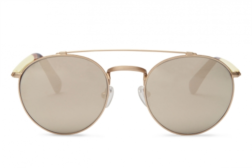 Toms Jarrett Satin Gold Champagne With Ivory Mirror Lens Sunglasses