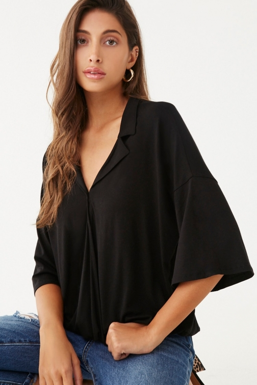 Forever21 Forever 21 Surplice Notched- Top , Black Collar