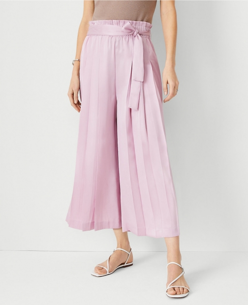 Ann Taylor The Waist Pleated Culotte Pant Tie