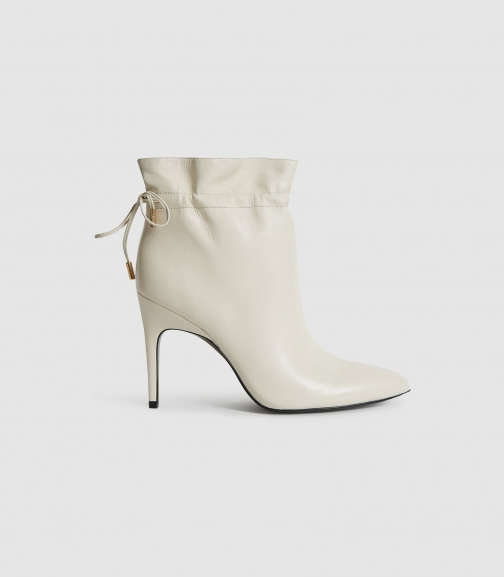 Reiss Russo - Leather Ruched White, Womens, Size 3 Ankle Boot