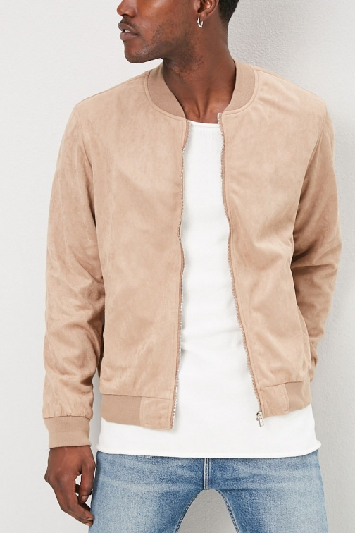 21 Men Faux Suede At Forever 21 , Taupe Bomber Jacket