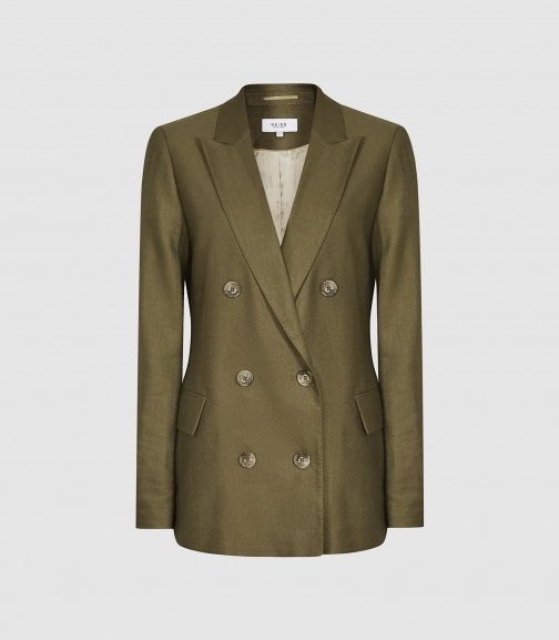 Reiss Brea - Linen Blend Double Breasted Khaki, Womens, Size 4 Blazer