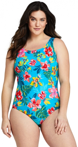 Lands' End Women's Plus Size Chlorine Resistant Tugless One Piece Soft Cup - Lands' End - Blue - 16W Swimsuit