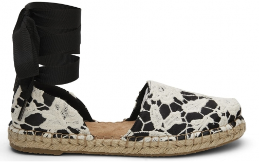 Toms TOMS Black Floral Lace Women's Katalina Espadrilles Shoes - Size UK3.5 / US5.5 Espadrille