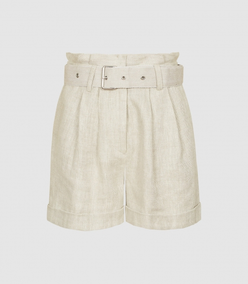 Reiss Romy - Textured Linen Neutral, Womens, Size 14 Short