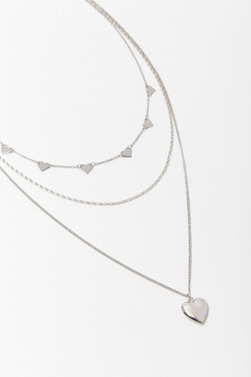 Forever21 Forever 21 Heart Charm Necklace Set , Silver Jewellery
