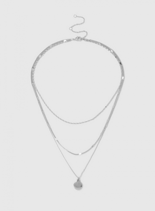 Dorothy Perkins Silver 3 Row Disc Drop Necklace