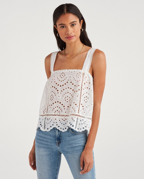 7 For All Mankind Women's Eyelet White Tank Top