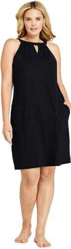 Lands' End Women's Plus Size Sleeveless High Neck Keyhole With UV Protection Swim Cover-up Dress - Lands' End - Black - 1X Swimwear