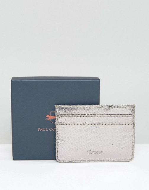 Paul Costelloe Leather Card Holder Silver Accessorie