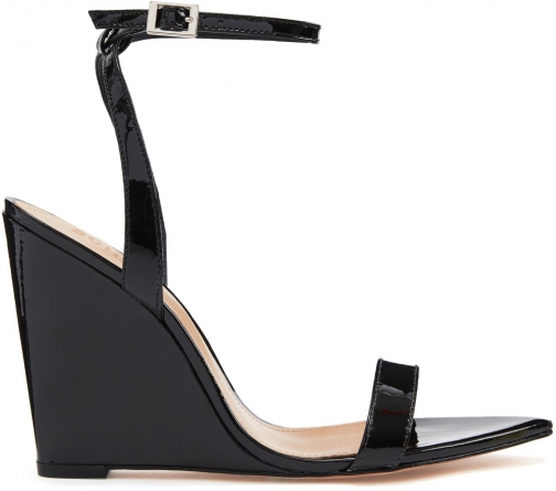 Schutz Shoes Raquel - 5 Black Patent Leather Wedge Sandal