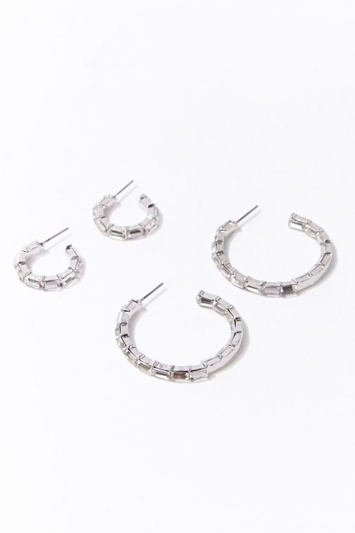 Forever21 Forever 21 Faux Gem Hoop Earring Set , Silver/clear Jewellery
