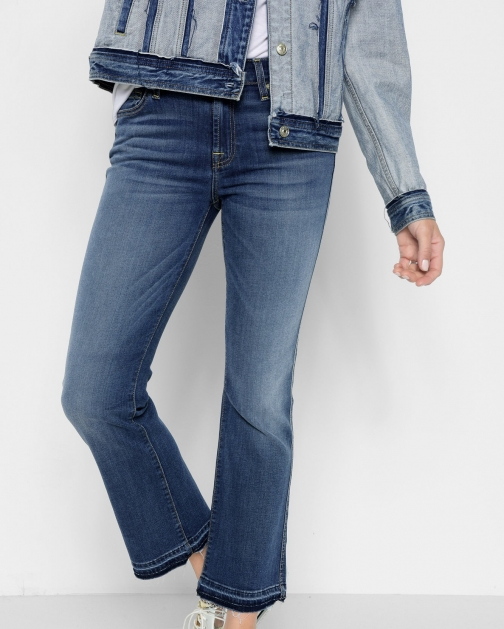 7 For All Mankind B(air) Denim Cropped With Released Hem Vintage Dusk Boot