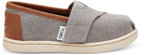 Toms Frost Grey Chambray Tiny TOMS Classics Slip-On Shoes