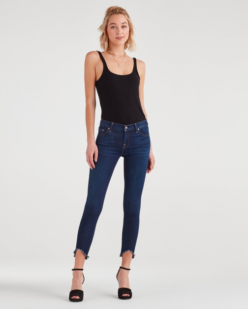 7 For All Mankind Women's Ankle Skinny With Wave Hem Serrano Night Trouser