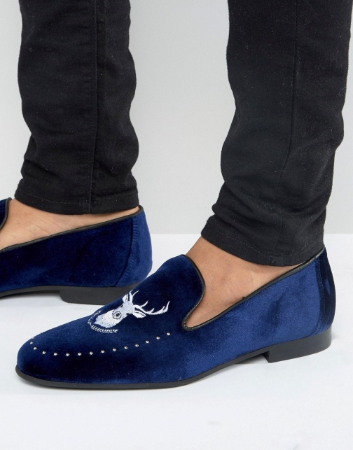 Asos Walk London Mayfair Embroidered Stag Loafer