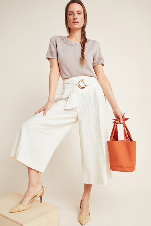 Anthropologie Palm Beach Belted Trousers Trouser