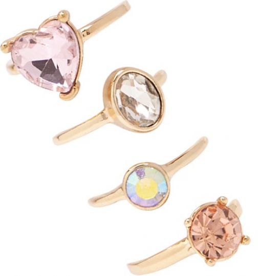 Forever21 Forever 21 Assorted Rhinestone Set Gold/pink Ring
