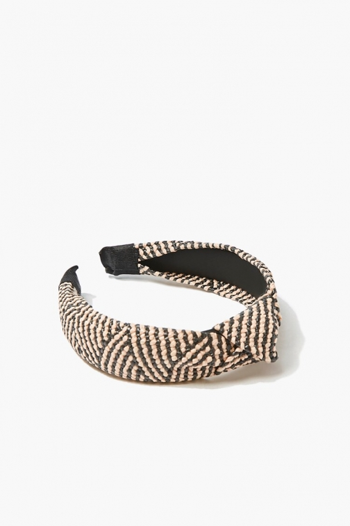 Forever21 Forever 21 Knotted Basketwoven Headband , Beige/black Headwear