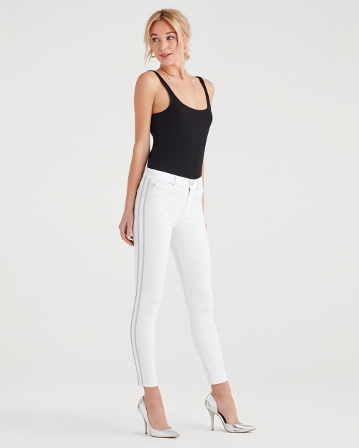 7 For All Mankind Women's High Waist Ankle Skinny With Double Silver Lurex Stripes White Fashion Trouser