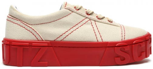 Schutz Shoes Mabby Sneaker - 7.5 Club Red Canvas Trainer