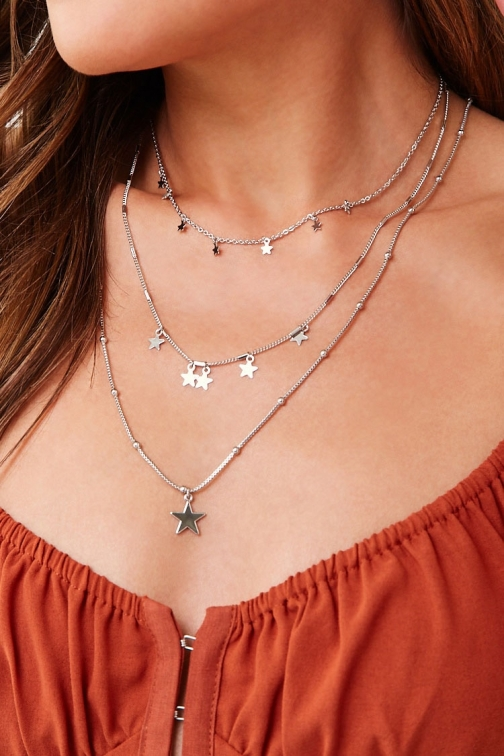 Forever21 Forever 21 Star Charm Necklace Set , Grey Jewellery