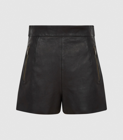 Reiss Bella - Leather Black, Womens, Size 6 Short