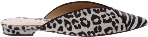 Schutz Shoes Ludie Flat Mule - 6 Pearl Leopard Printed Pony Hair Shoes