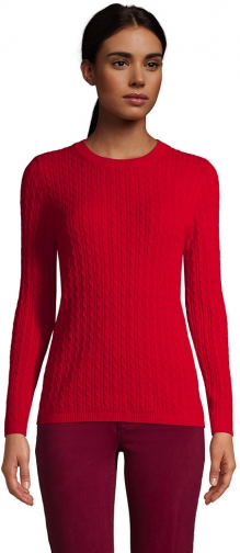 Lands' End Women's Cashmere Cable Sweater - Lands' End - Red - XS Sweatshirt