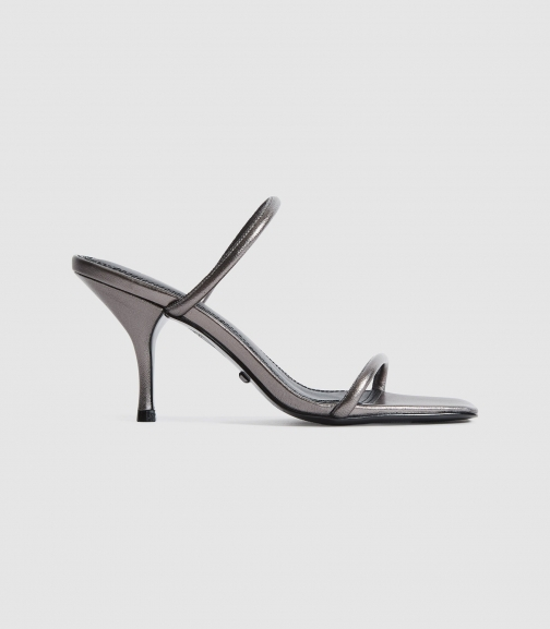 Reiss Magda - Leather Strappy Gunmetal, Womens, Size 3 Heeled Sandals