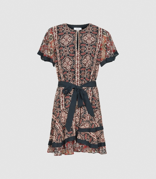Reiss Hannie - Paisley Printed Multi, Womens, Size 10 Mini Dress
