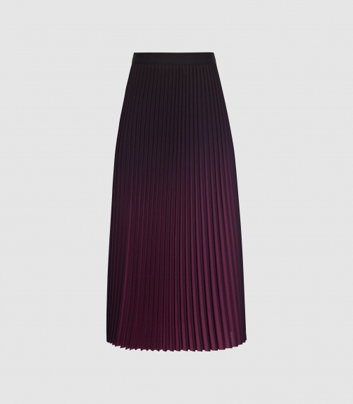 Reiss Marlie - Ombre Pleated Berry, Womens, Size 4 Midi Skirt