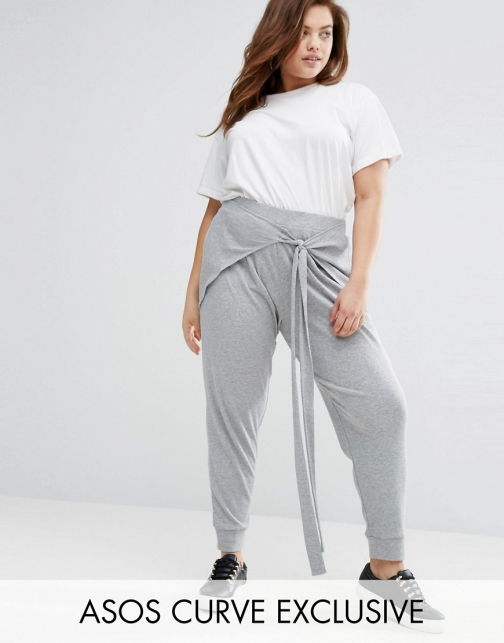 Asos Curve CURVE Rib Jogger With Front Tie