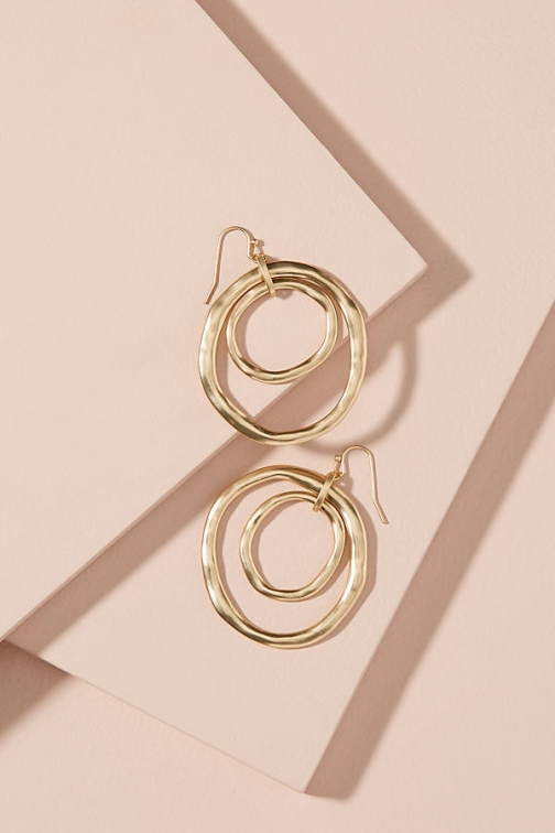 Anthropologie Multi-Coin Drop Hoop Earring