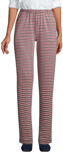 Lands' End Women's Sport Knit High Rise Elastic Waist Pull On Pant - Print - Lands' End - Red - XS Trouser