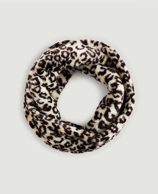 Ann Taylor Factory Animal Print Faux Fur Snood Scarf