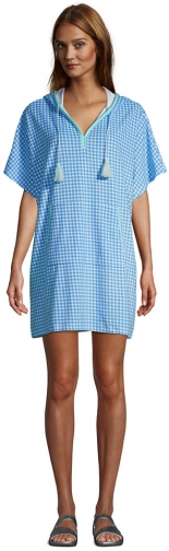 Lands' End Women's Terry V-neck Short Sleeve Hooded Swim Cover-up Dress With Pocket - Lands' End - Blue - S-M Swimwear