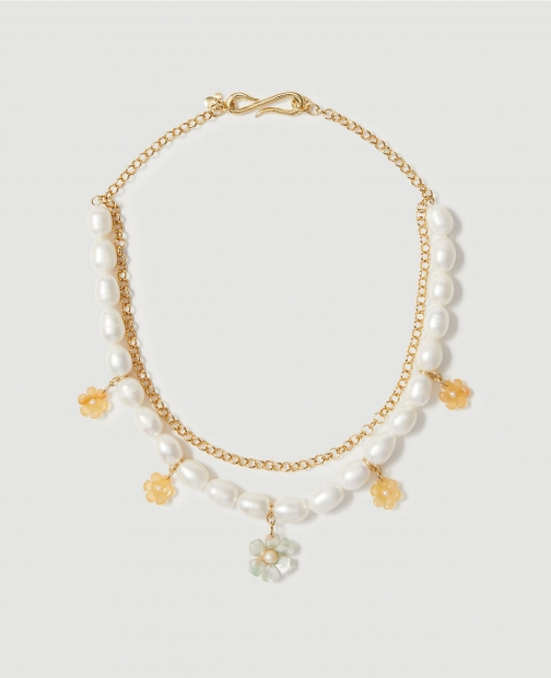 Ann Taylor Flower Pearlized Chain Statement Necklace