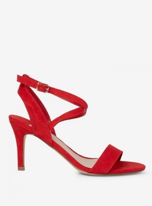 Dorothy Perkins Womens Wide Fit Red 'Samia' Microfibre - Red, Red Heeled Sandal