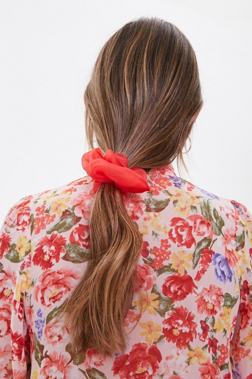 Forever21 Forever 21 Sheer Organza Scrunchie , Red Headwear